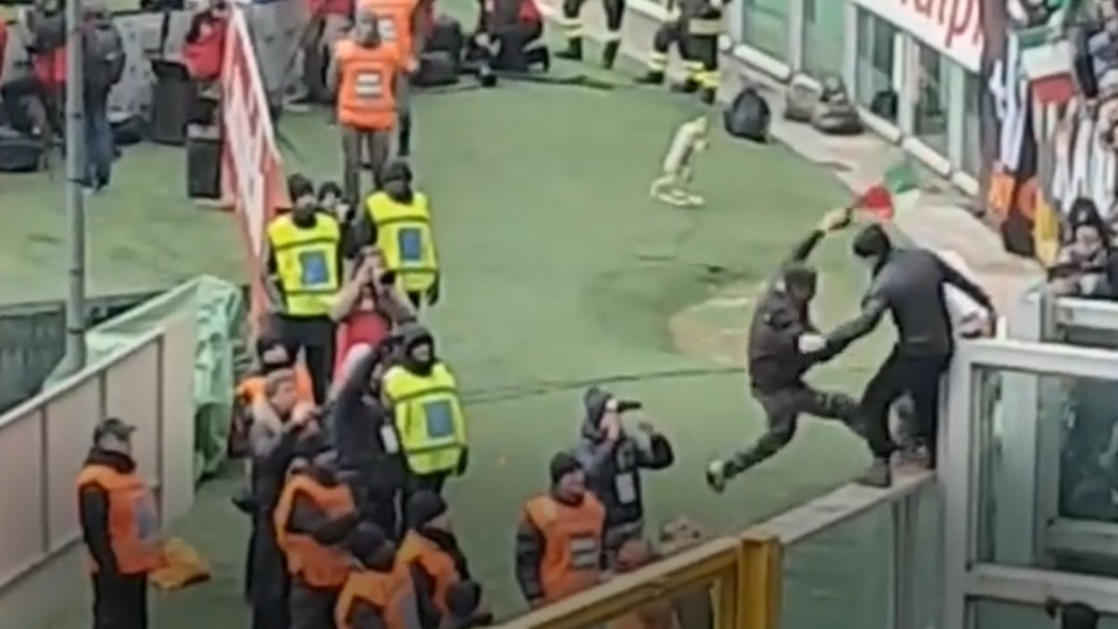 Fight Breaks Out At Football Derby In Italy